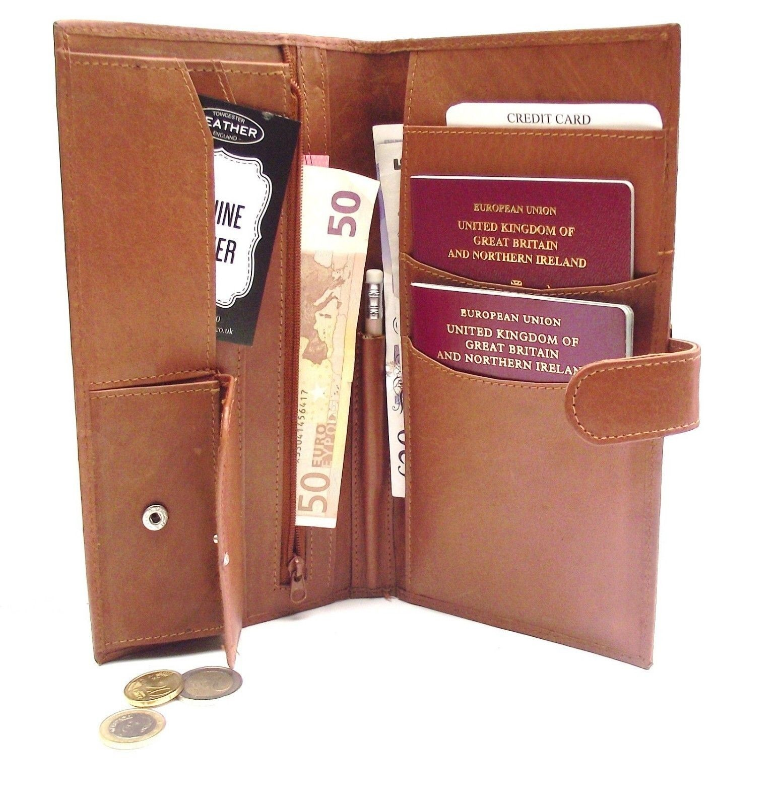 TRAVEL PASSPORT WALLET TAN LEATHER