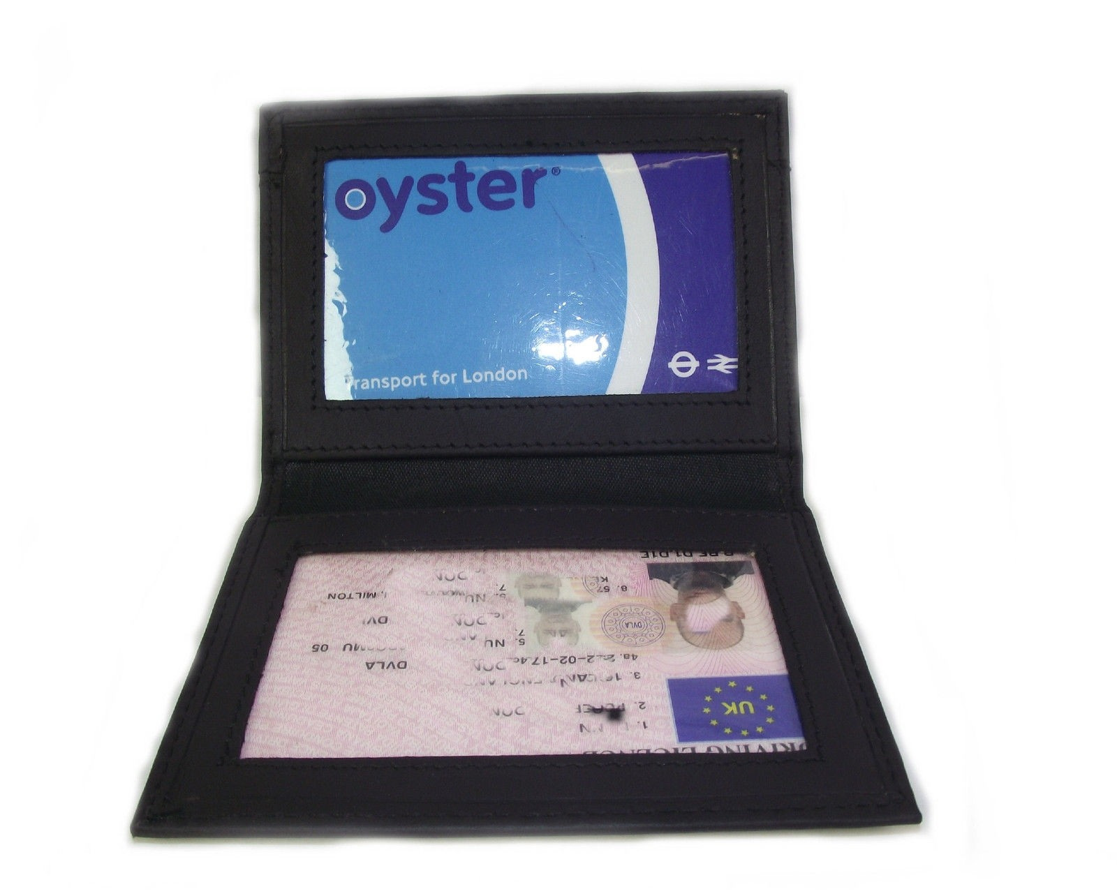 BLACK LEATHER OYSTER/TRAVEL LICENCE ID CARD WALLET