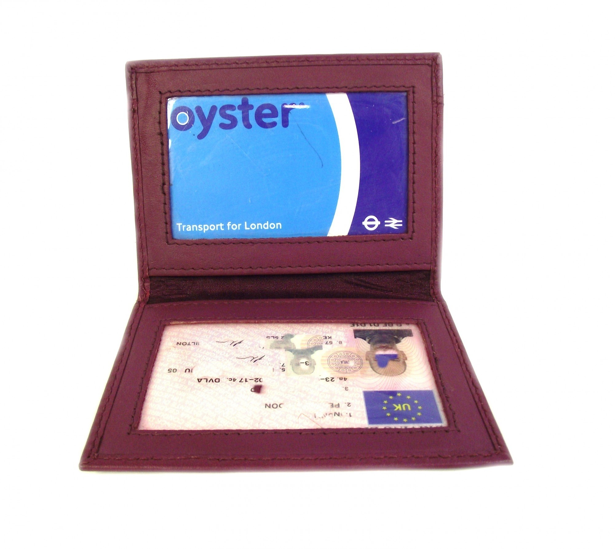PINK LEATHER ID OYSTER CARD WALLET