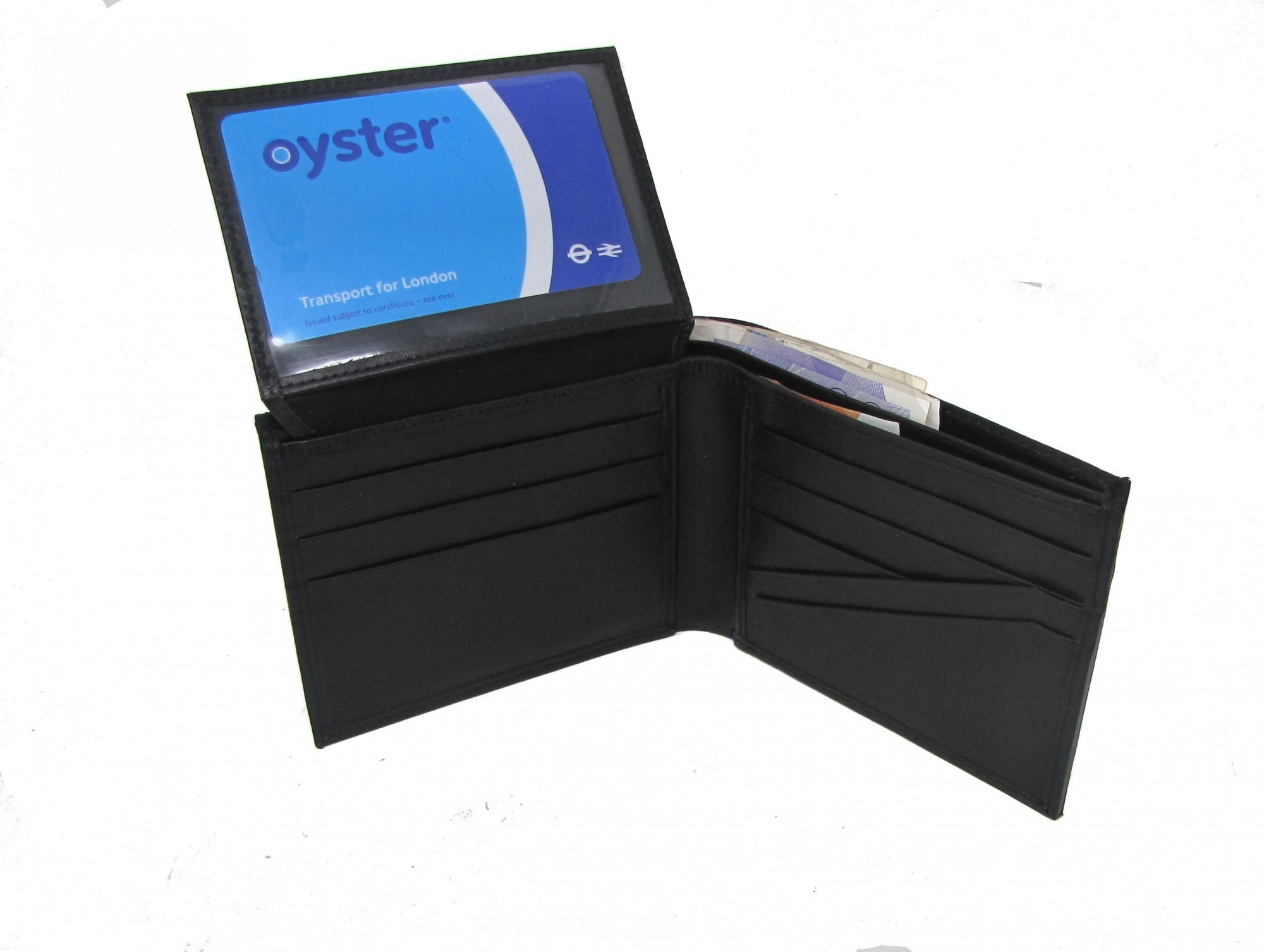 PERSONALISED BLACK LEATHER WALLET GIFT BOXED