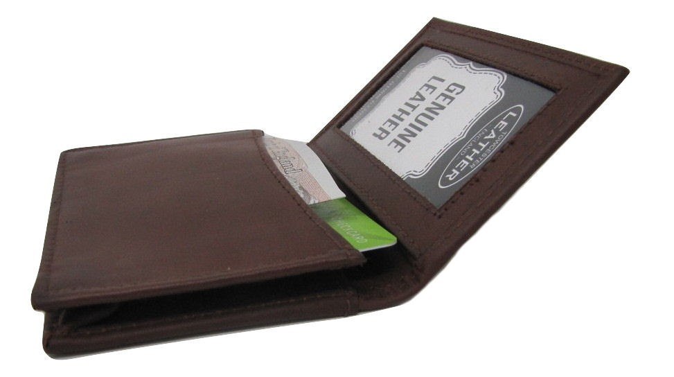 BROWN LEATHER ID WALLET