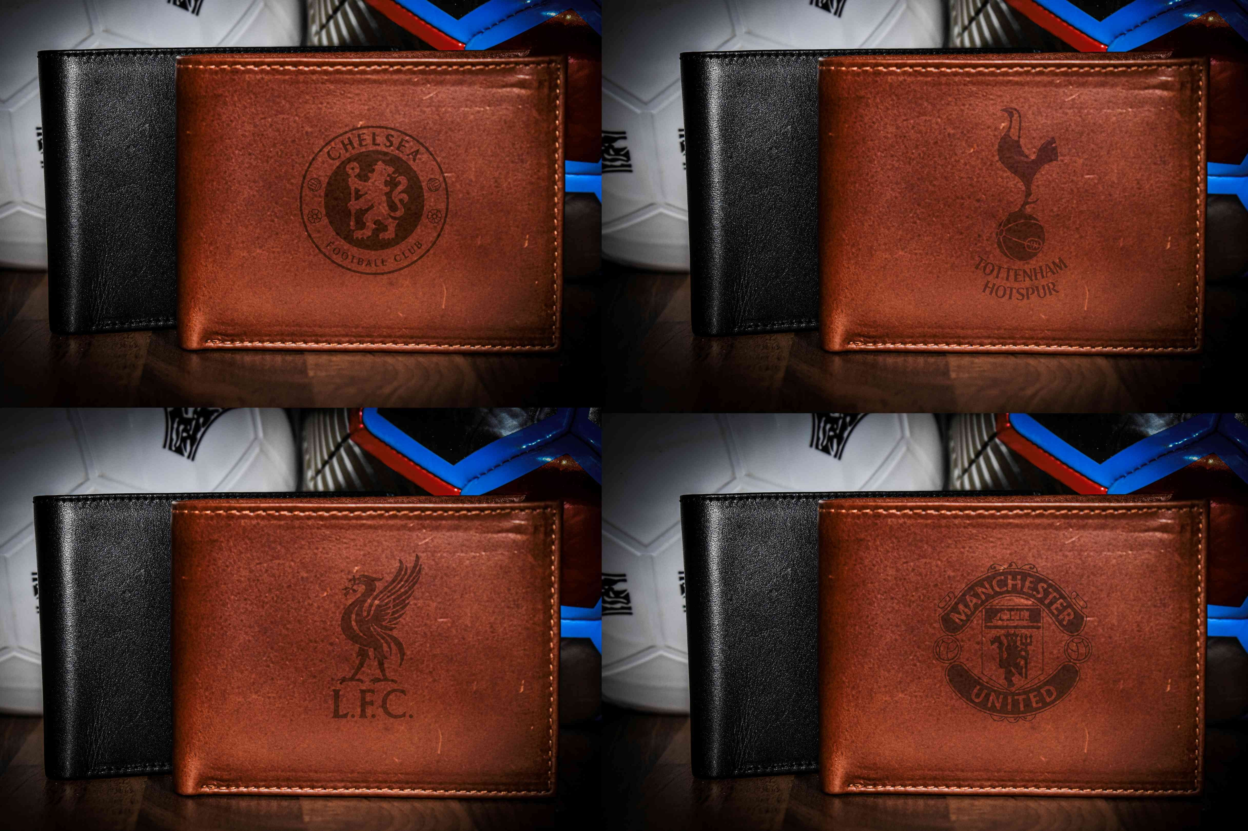 Real Leather Wallet with your Football Crest logo (any football team)