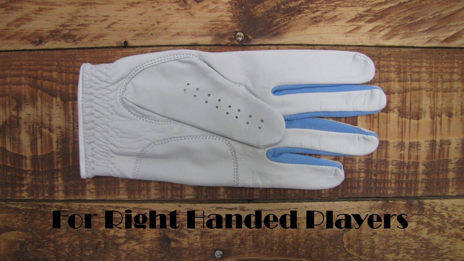 LADIES GABRETTA WHITE LEATHER GOLF GLOVE (LEFT HAND GLOVE) Blue Strips