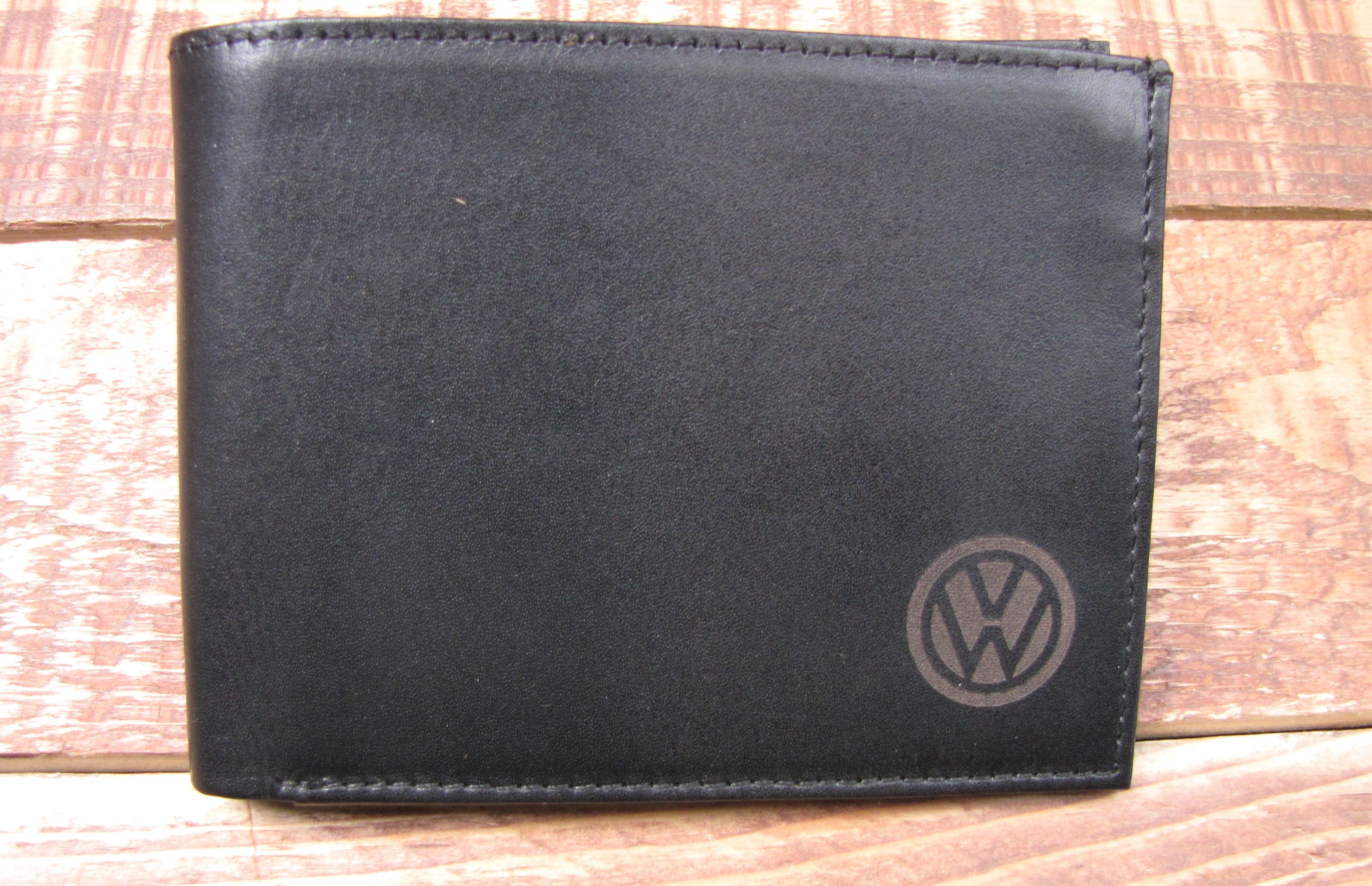 Black Leather full Wallet with VW on the front small