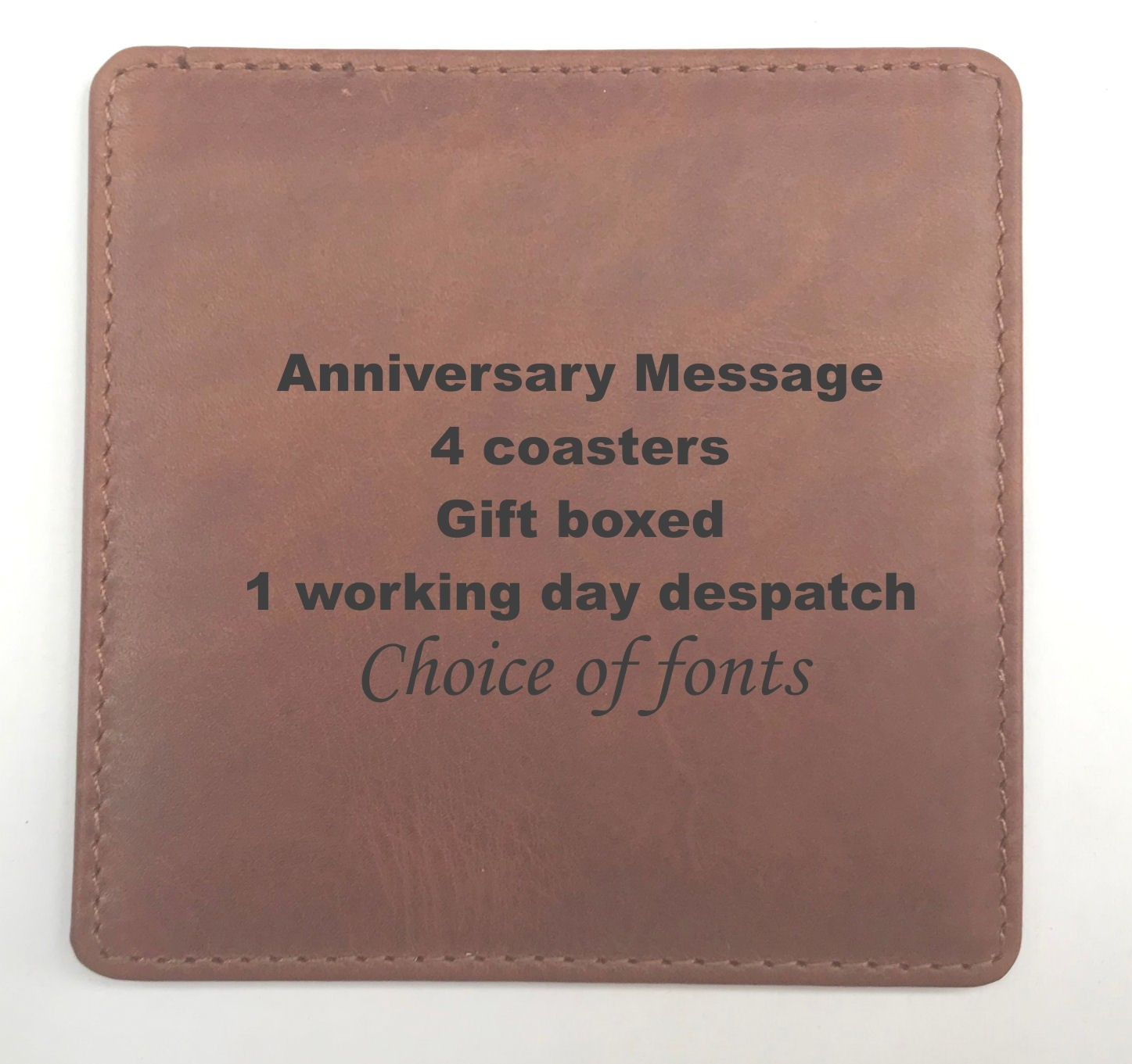 THIRD ANNIVERSARY LEATHER COASTERS SQUARE