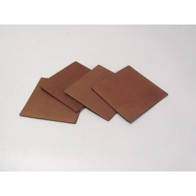 BROWN LEATHER SQUARE COASTERS