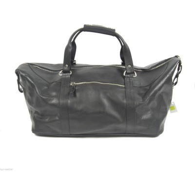 BLACK LEATHER SPORTS/ WEEKEND/ HAND LUGGAGE BAG