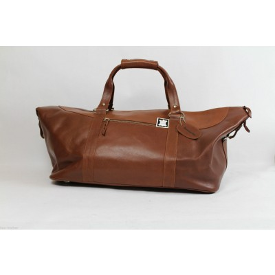 TAN LEATHER SPORTS/ WEEKEND/ HAND LUGGAGE BAG