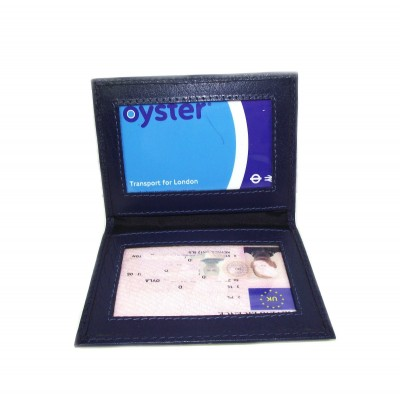 BLUE LEATHER CARD HOLDER OYSTER LICENCE