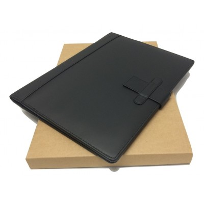 A4 FOLDER PERSONALISED LEATHER LEAVING GIFT NAME (Black)