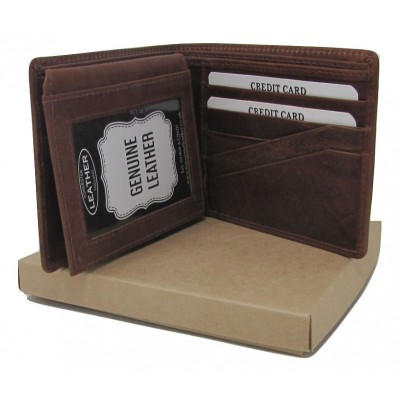 PERSONALISED BROWN LEATHER WALLET GIFT BOXED