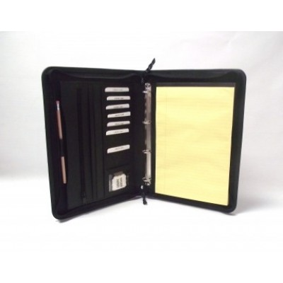 EXECUTIVE BLACK LEATHER A4 FOLDER PORTFOLIO 4 RING BINDER