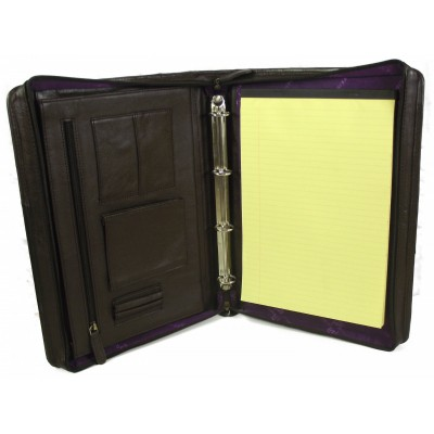 EXECUTIVE BROWN LEATHER A4 FOLDER ORGANISER