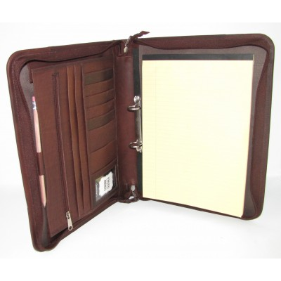 BROWN LEATHER PRESENTATION A4 FOLDER PORTFOLIO 2 RING