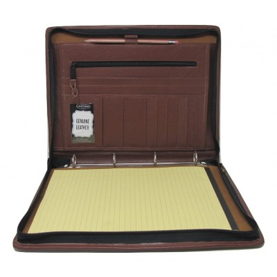 EXECUTIVE BROWN LEATHER A4 FOLDER PORTFOLIO