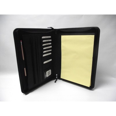 EXECUTIVE BLACK LEATHER A4 FOLDER PORTFOLIO