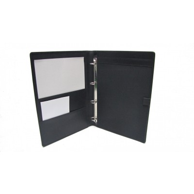 A4 BLACK LEATHER GUEST ROOM INFORMATION FOLDER