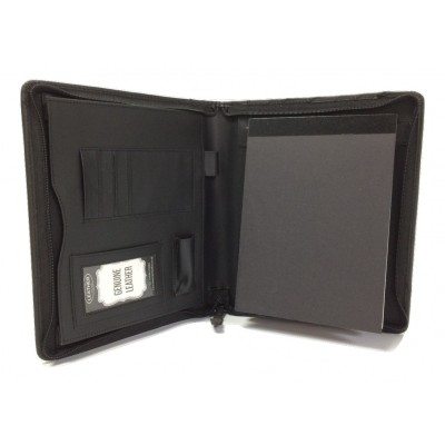 BLACK LEATHER A5 FOLDER ORGANISER PORTFOLIO