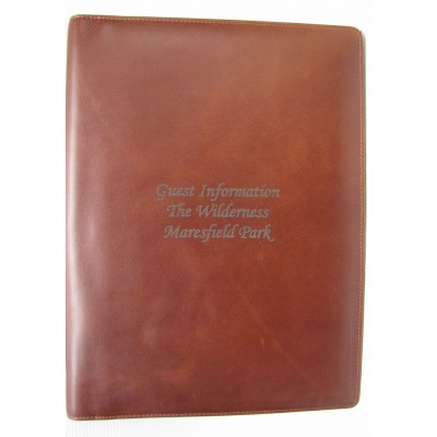 A4 Brown LEATHER GUEST ROOM INFORMATION FOLDER