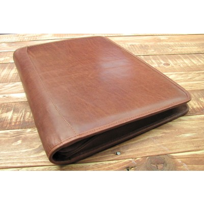 BROWN LEATHER PRESENTATION A4 FOLDER PORTFOLIO 4 RING BINDER