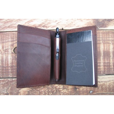 A7 PERSONALISED LEATHER NOTE BOOK GIFT (Brown)