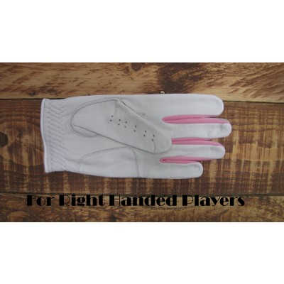 LADIES GABRETTA WHITE LEATHER GOLF GLOVE (LEFT HAND GLOVE) Pink Strips
