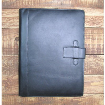 BLACK LEATHER A4 FOLDER ORGANISER PORTFOLIO