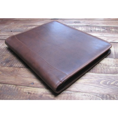 BROWN LEATHER PRESENTATION A4 FOLDER PORTFOLIO Option for 2 or 4 RING BINDER