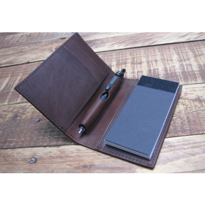 BROWN LEATHER A7 STYLE NOTEPAD HOLDER