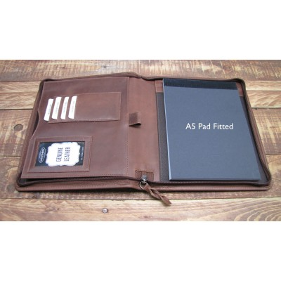 TAN LEATHER A5 FOLDER ORGANISER PORTFOLIO