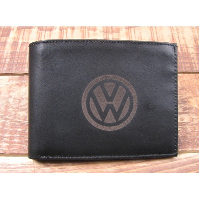 Black Leather full Wallet with VW on the front large
