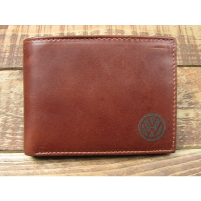 Brown Leather full Wallet with VW on the front small
