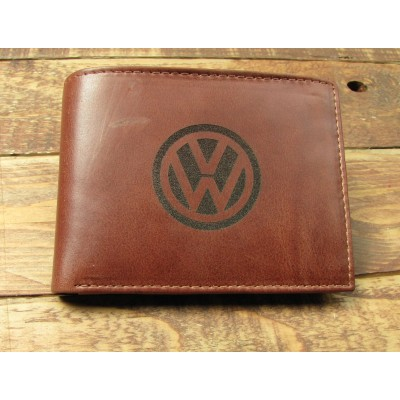 Brown Leather full Wallet with VW on the front large