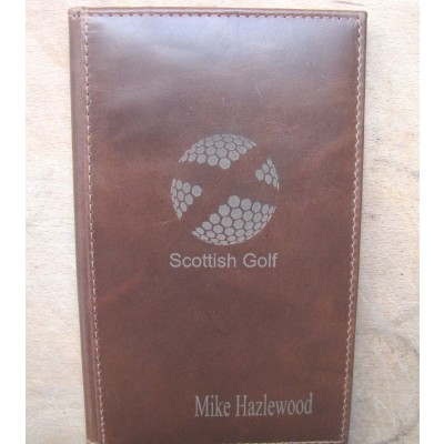 GENUINE LEATHER BROWN GOLF SCORE HOLDER WITH OPTION TO PERSONALISE