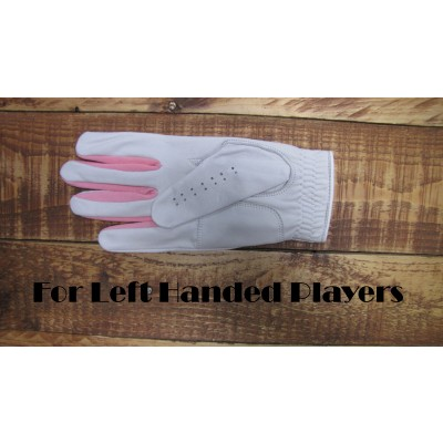 Ladies GOLF GLOVE GABRETTA WHITE LEATHER WITH Pink Stripes (RIGHT HAND GLOVE)